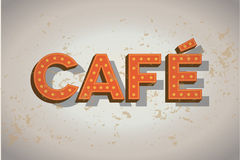 Cafe neon sign on old wall - coffee sign Royalty Free Stock Images