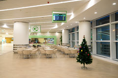 Cafe in the new modern international terminal of Ashgabat airport. Turkmenistan Stock Photos