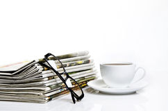 Cafe and newspaper Stock Photos