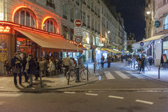 Cafe night life in Paris, France Royalty Free Stock Photography