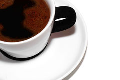 Cafe noir. White / black coffee cup the velvet ear Royalty Free Stock Images