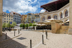 Cafe at the old square. Lisbon, Portugal Stock Photo