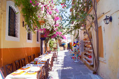 Cafe in the old street, Crete Royalty Free Stock Photography