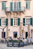 Cafe in the old town of Kotor Stock Image