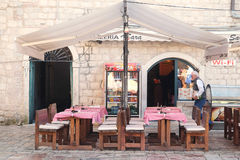 Cafe in the old town of Kotor Stock Photos