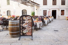 Cafe in the old town of Kotor Stock Images