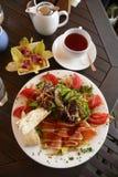Cafe: organic New Zealand food. Plate of fresh organic food at New Zealand outdoor cafe near Whangarei Stock Photos