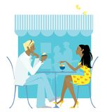 Cafe oudoors. Couple talking at cafe outdoors Vector Illustration