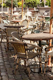Cafe outdoor restaurant table and chair Royalty Free Stock Photography