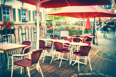 Cafe with outdoor terrace. City street background royalty free stock image