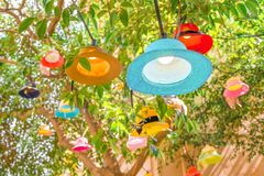 Free Cafe Outside Light Decor Closeup. Summer Concept. Vacation, Travel Conceptual. New Life For Old Hats, Panamas Stock Photos - 171210203