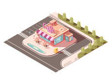 Cafe Outside View Isometric Design Stock Photography