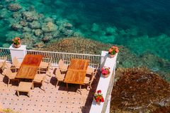 Free Cafe Over The Sea Crystal Waters. Stock Photos - 111055373