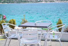 Comfortable cafe. Cafe overlooking the azure sea Royalty Free Stock Image