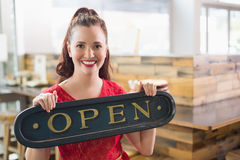 Cafe owner smiling at the camera Royalty Free Stock Photography