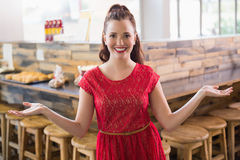 Cafe owner smiling at the camera Royalty Free Stock Images