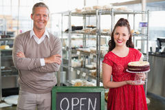 Cafe owners smiling at the camera Royalty Free Stock Photography
