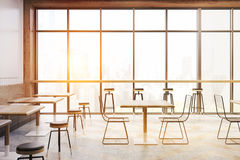 Cafe with panoramic windows, toned Stock Photos