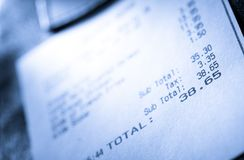Cafe paper cheque Royalty Free Stock Photography