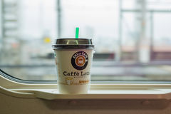 Cafe paper coffee cup in the Shinkansen bullet train Royalty Free Stock Images