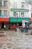 Cafe in Paris. Cafe at a beautiful Place du Tertre in downtown Paris, France near the Sacre Coeur cathedral Stock Photography