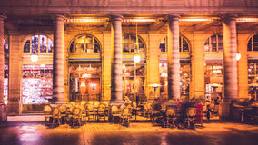 Cafe in Paris. Cafe outdoor at night. Paris, France Stock Photos