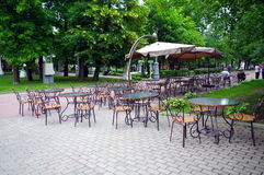 Cafe in the park Hermitage, Moscow, Russia Royalty Free Stock Photography