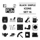 Cafe, party, alcohol, counter, food and other attributes of the pub.Pub set collection icons in black style vector Royalty Free Stock Image