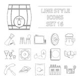 Cafe, party, alcohol, counter, food and other attributes of the pub.Pub set collection icons in outline style vector Royalty Free Stock Photos
