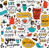 Cafe pattern with doodle tea pots, cups, inspirational quotes and desserts. Coffee is always a good idea. Eat good, feel. Good. Enjoy your meal. Seamless vector illustration