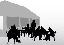 Cafe people. Drawing people in cafes. Silhouettes of people in urban life Stock Image