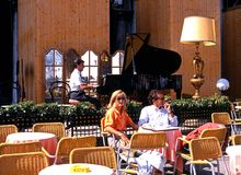 Cafe with pianist, Venice. Stock Photo