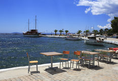 Cafe at the pier in Neos Marmaras Stock Images