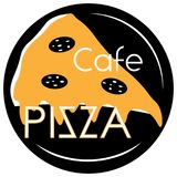 Cafe pizzeria with pizza on a black background in three colors minimalistic logo. Cafe pizzeria with pizza on a black background in three colors minimalistic art vector illustration