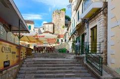 Cafe-pizzeria on Square of Nikola Dzhurkovich in Herceg Novi, Montenegro. HERCEG NOVI, MONTENEGRO - SEPTEMBER 25, 2015: Cafe-pizzeria on Square of Nikola stock photos