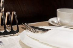 Cafe Place Setting. Formal and Stylish Table Setting For Elegant Breakfast or Brunch Royalty Free Stock Images