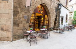 Cafe in Poble Espanyol in Barcelona, Spain Stock Images