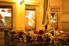 Cafe in Prague by night Royalty Free Stock Images