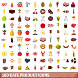 100 cafe product icons set, flat style. 100 cafe product icons set in flat style for any design vector illustration Stock Images