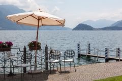 Cafe on promenade in Menaggio, Como lake Royalty Free Stock Photography