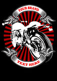 CAFE RACER apparel. Image illustration a BIKER COMMUNITY for idea PATCH and Tee Shirt, clothing, apparel bikers design Royalty Free Stock Images
