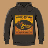 Cafe Racer hoodie print design template, vector illustration. Eps available Stock Image