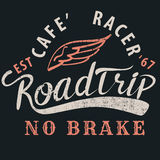 Cafe racer roadtrip typographic for t-shirt,tee design,poster,ve. Cafe racer roadtrip typographic for t-shirt,tee design,poster, illustration Stock Image