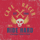Cafe racer typographic with winged skull,graphic for for t-shirt,vector illustration Stock Image