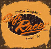 Cafe racer - vintage design. Cafe racer - vintage motorcycle design - vector lettering - shirt print - Grunge texture can be easily removed - eps available Royalty Free Stock Photo