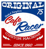 Cafe Racer,  vintage motorcycle design vector lettering. Shirt print Grunge texture can be easily removed - eps available Royalty Free Stock Photography