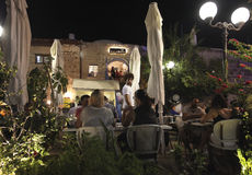 Cafe restauranr in Old Yaffo by night, Israel Royalty Free Stock Photography