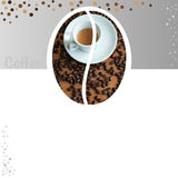 Cafe or restaurant card for coffee menu. Cup of hot coffee and coffee beans. Royalty Free Stock Photography