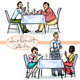 Cafe and Restaurant Collection - hand drawn scenes Stock Photography