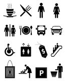 Cafe And Restaurant Icons Set. Vector illustration of various helpful cafe and restaurant icons set on a white background Royalty Free Stock Photo